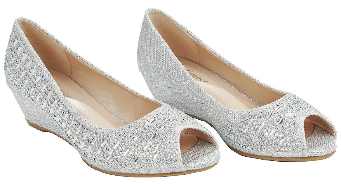 Women Fisher Silver Open Toe Sparkle Glitter Rhinestone Formal Comfort Mid Wedge Heel Dress Pumps-6 by JJF Shoes (Image #3)