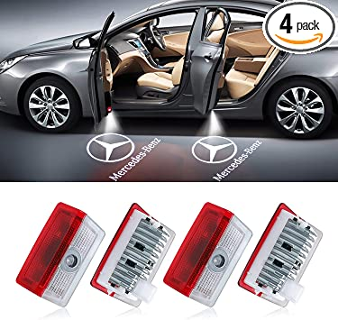 LED Car Door Logo Light Courtesy Projector Laser Welcome Lights Ghost Shadow Light Accessories No Need Wire Compatible with A C E GLC GLS Series Class(4 Pack)