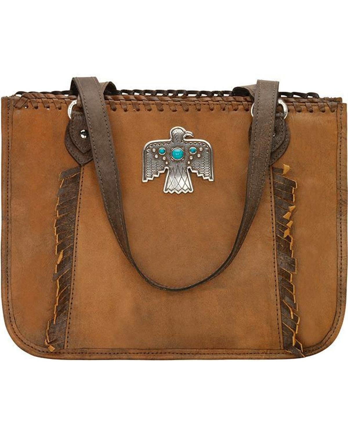 American West Women's Thunderbird Ridge Multi-Compartment Zip Top Tote Distressed Brown One Size