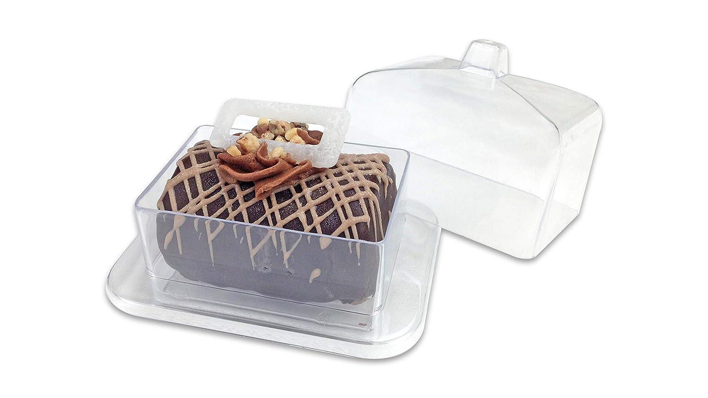 Zappy 24 Mini Cake Stand Rectangle Mini Cake Plate with Dome Cover Lid Clear Heavy Duty Plastic Single Cupcake Stand Mini Dessert Plates 24 Miniature Dessert Cupcake Holders Great For Tiramisu Mousse