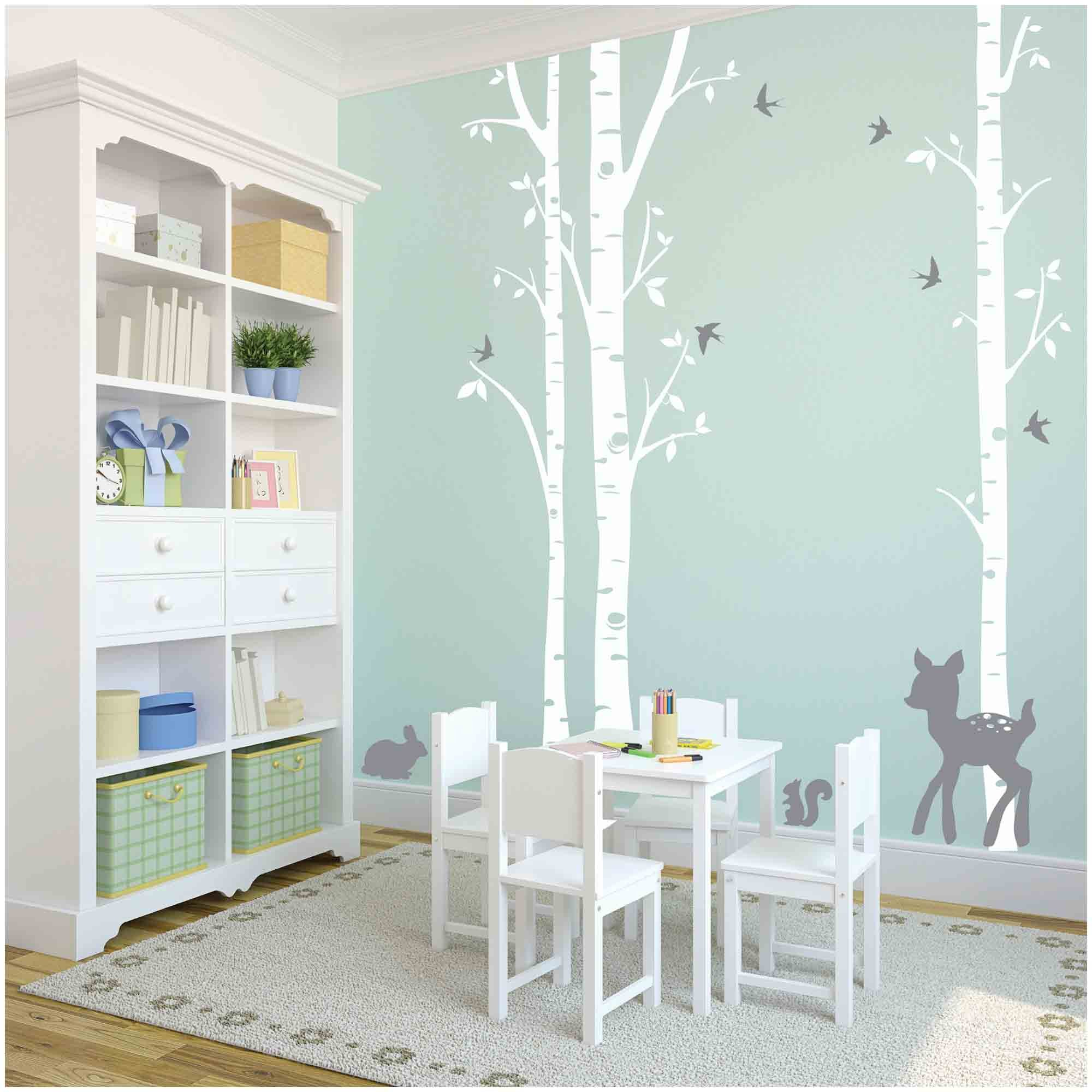 Owl Hills 3 White Birch Trees with Fawn, Bunny, Squirrel and Birds Wall Stickers, Grey by Owl Hills