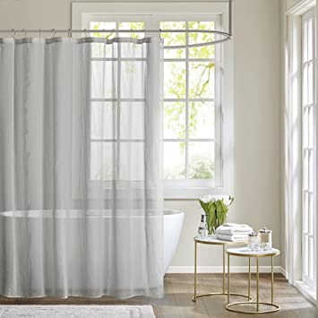 Amazon.com: Madison Park Anna Sheer Shower Curtain White 72x72: Home ...