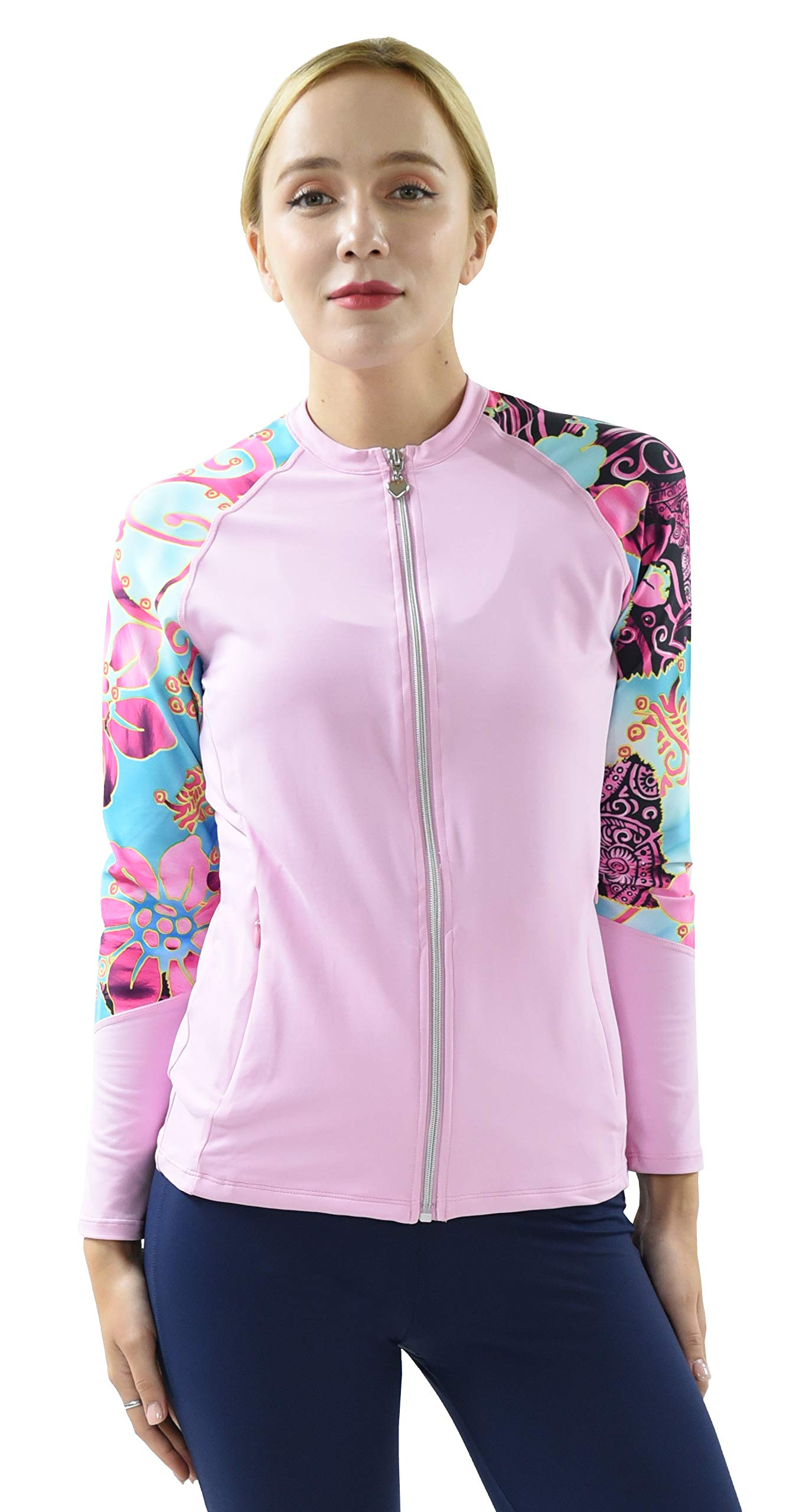 Private Island Hawaii UV Women Rash Guard Zip Up Long Sleeve Yoga Active Workout (XXL, PwSBP-JRSRGT) by Private Island
