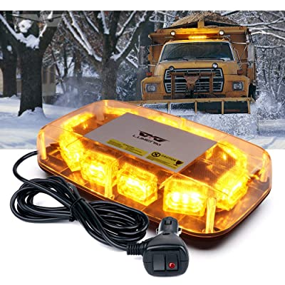 "[Upgraded]Lumenix Rooftop Strobe Light 12"" Emergency Hazard Warning Safety LED Mini Strobe Light Bar, Waterproof and Magnetic Base Beacon Lights for Trucks Construction Vehicles Snow Plow Car(Amber): Automotive"