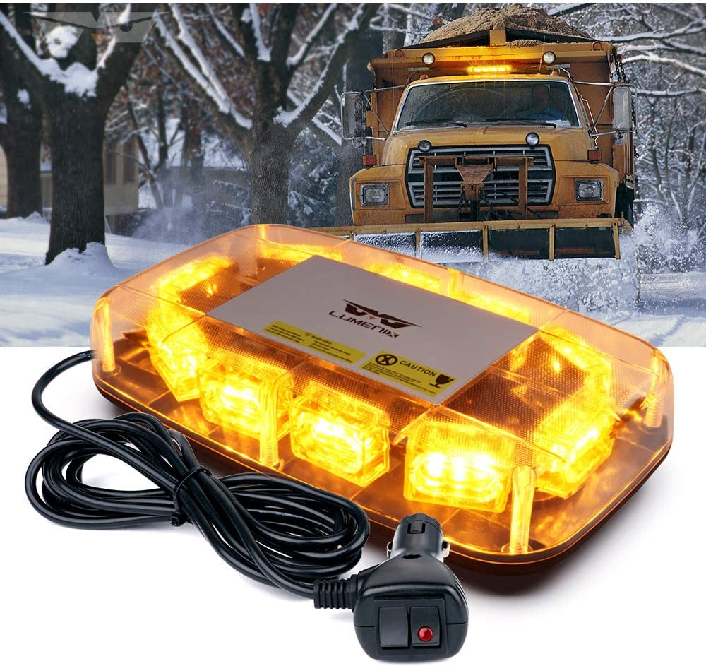 "[Upgraded]Lumenix Rooftop Strobe Light 12"" Emergency Hazard Warning Safety LED Mini Strobe Light Bar, Waterproof and Magnetic Base Beacon Lights for Trucks Construction Vehicles Snow Plow Car(Amber)"