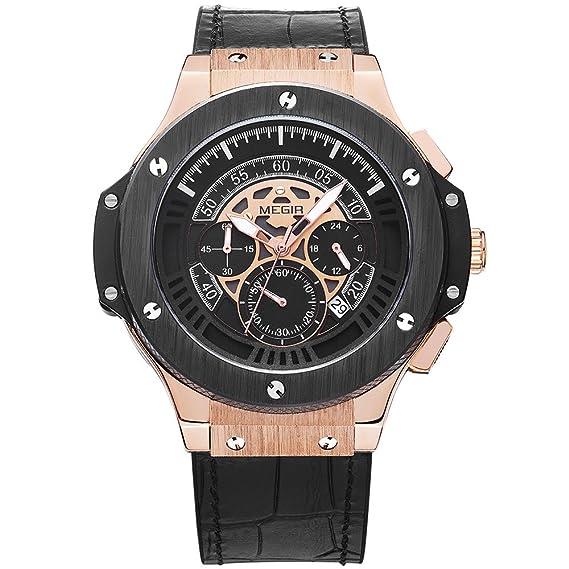 Reloj para hombre Megir con cronógrafo, dial de 24 horas, correa de piel negra estilo deportivo militar.: Amazon.es: Relojes