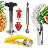 Lasten 5 PCS of Kitchen Gadgets, Strawberry Huller & Pineapple Slicer & Watermelon Baller/Scoop Cutter Slicer & Banana Slicer,Stainless Steel Fruit Gadgets, Baller to Fruit Sharp Carving Knife
