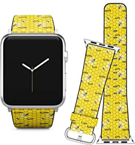Compatible with Apple Watch (42/44 mm) Series 5, 4 3, 2, 1 // Leather Replacement Bracelet Strap Wristband + Adapters // Bees On Honeycomb