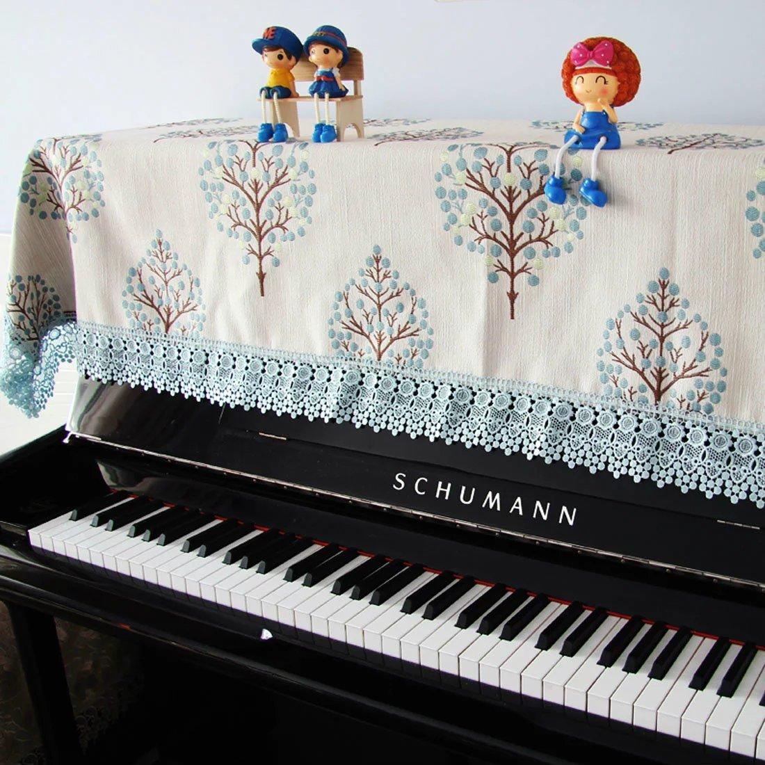 ピアノカバー ピアノトップ 防塵カバー 田園風 カバー 刺繍 レース 縁 可愛い おしゃれ 現代 シンプル アップライトピアノ用 シングル ダブル スツールカバー 椅子カバー INSOD トップカバー(150*200cm)+ダブルスツールカバー  B077M9TTD5