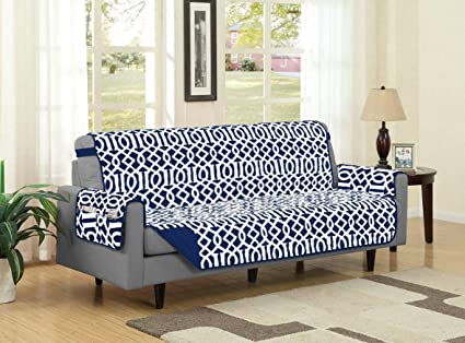 Linen Store Dallas Quilted Reversible Microfiber Furniture Protector With  Strap And Pockets, Navy, Sofa