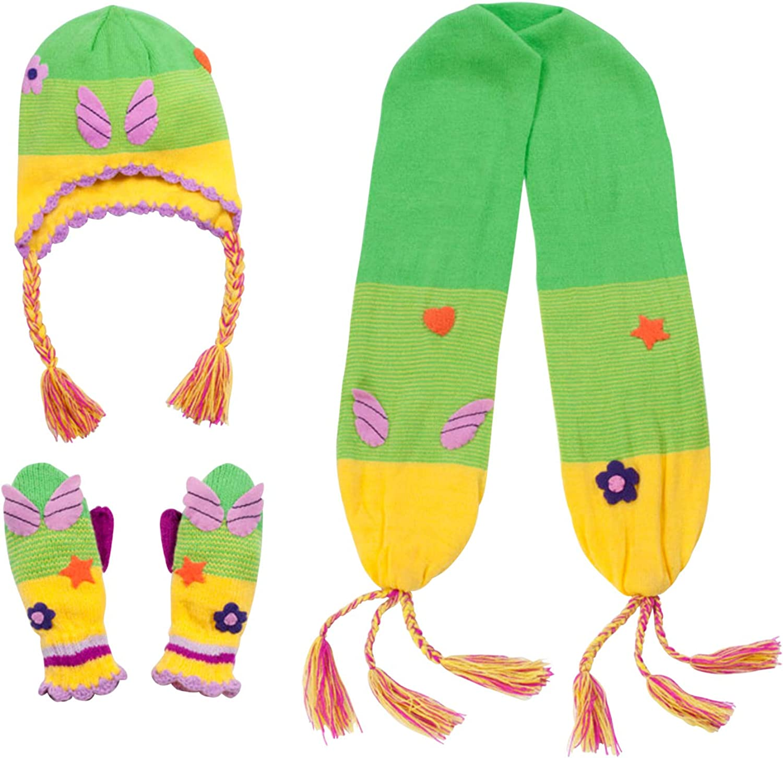 Kidorableグリーン/イエローソフトアクリルフェアリー帽子/スカーフ/ミトンセットガールズW/Fun Fairy Wings