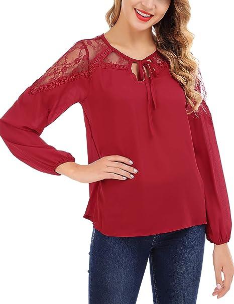 750ff336b13a FISOUL De las Mujeres Elegante Manga Larga Camisa de Gasa Costura de Encaje  Blusa Suelta Camisa Sólidas