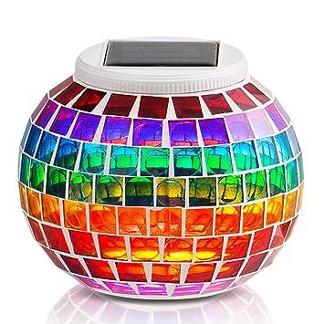 lmpara solar mosaico grde jarrn decorativo con mosaico colorido lmpara de mesita de noche