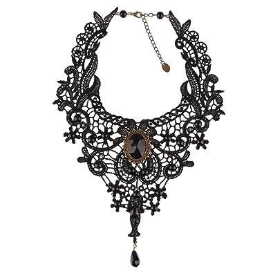 Beauty7 Collier Ras du Cou Pendanttif Gothique Lace Dentelle Noir Fleur  Lolita Frange Vintage Pierre Noir