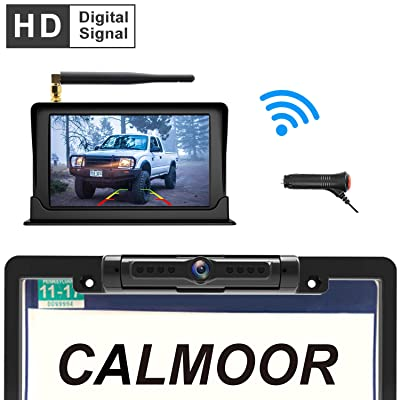 "Calmoor Upgrade Digital Signal Wireless Backup Camera System Kit with HD 5"" Monitor IP69K Waterproof 170 Degrees Angle License Plate Camera with Parking Lines for Cars SUVs Trucks Pickups MiniVans"