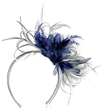 876918b0daf54 Silver Grey & Navy Fascinator Headband Wedding Kentucky Derby Races ...
