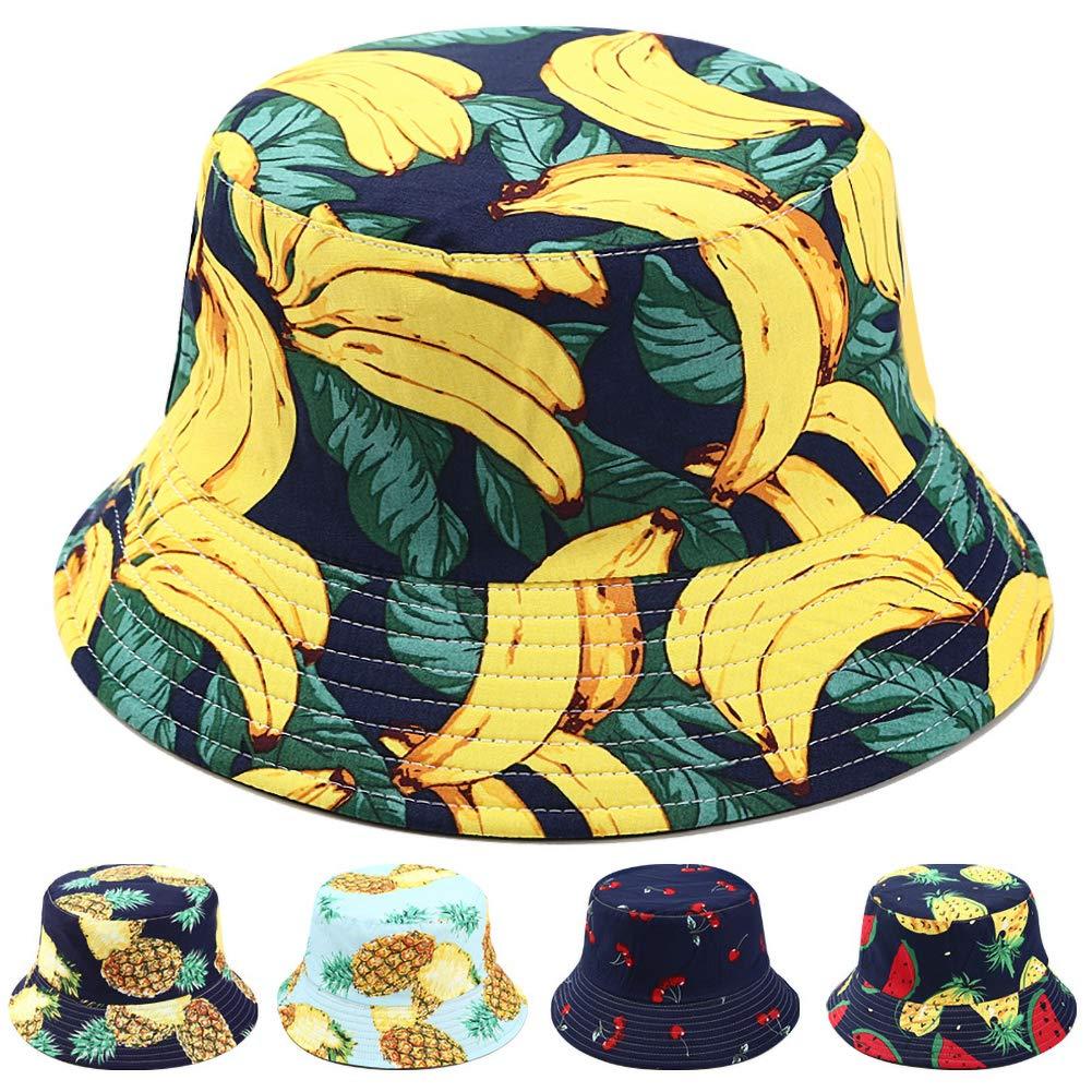 Mayyou Fruit Print Bucket Hat Fishmen Outdoor Cap Unisex Mens Ladies Funky Fisherman Beach Pool Caps