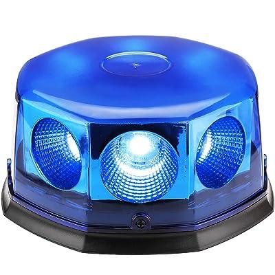 8 Pcs COB Car Auto Flash Beacon Light, 40W Amber Emergency Hazard Warning Strobe Light with Magnetic Base, DC 12V-24V, 14 Flashing Modes (Blue): Automotive