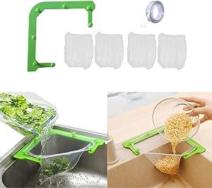 Sink Strainers Basket Leftovers Drain Rack - 200PCS Filter Bags with Triangular Sink Basket Storage Holder for Kitchen Bathroom Support Corner (1+200)