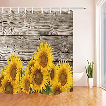NYMB Summer Sunflower Bath Curtain Natural Plant Sunflowers With Leaves On Wooden Polyester Fabric