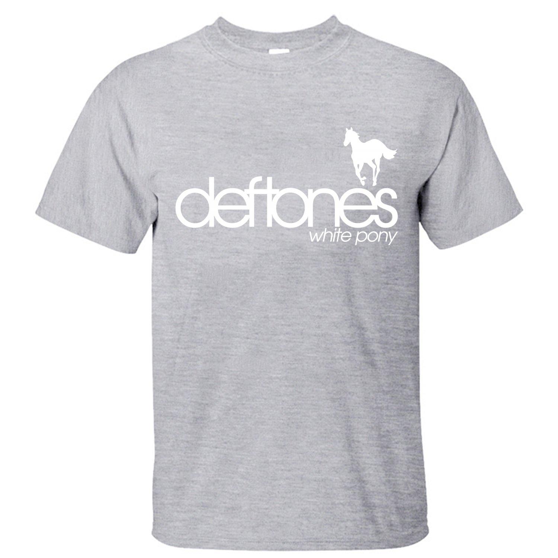 T shirt deftones white pony - Shine Deftones White Pony Men S T Shirt Short Sleeves Grey M
