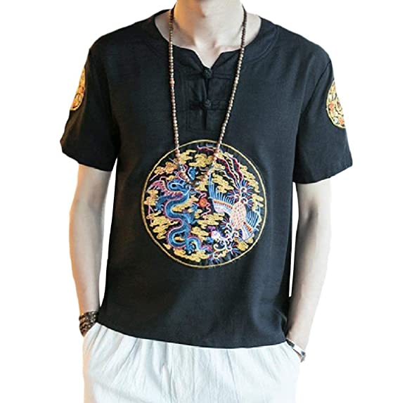 Abetteric Men Chinese Style Plus Size Vintage Tee Short Sleeve Top
