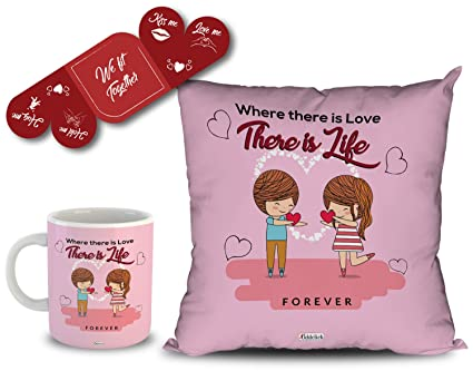 Buy Oddclick Where There Is Love There Is Life Forever Love Quotes Printed Mug Cushion Cover And We Fit Together Red Love Card Pack Of 3 Valentines Gift Set Online At Low
