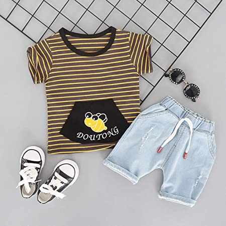 Amazon.com: Iuhan 2PCS Outfits Set Baby Kids Boys Cartoon Bee Stripe ...
