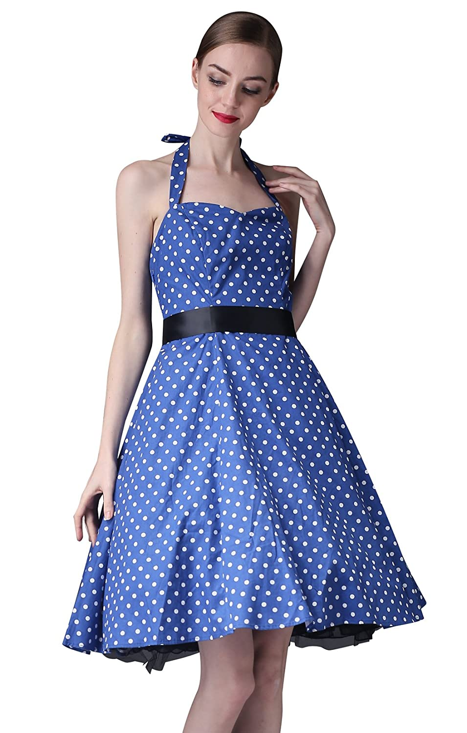 50s Polka Dot Swing Rockabilly Party Halter Prom Dress at Amazon Womens Clothing store: