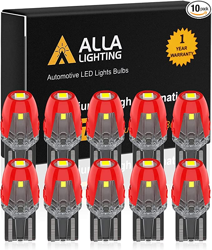 Trunk License Lights T10 2825 W5W 158 2821 175 Dome Alla Lighting Patented T10 168 194 LED Bulbs Super Bright 6000K Xenon White Interior Map Glove Box