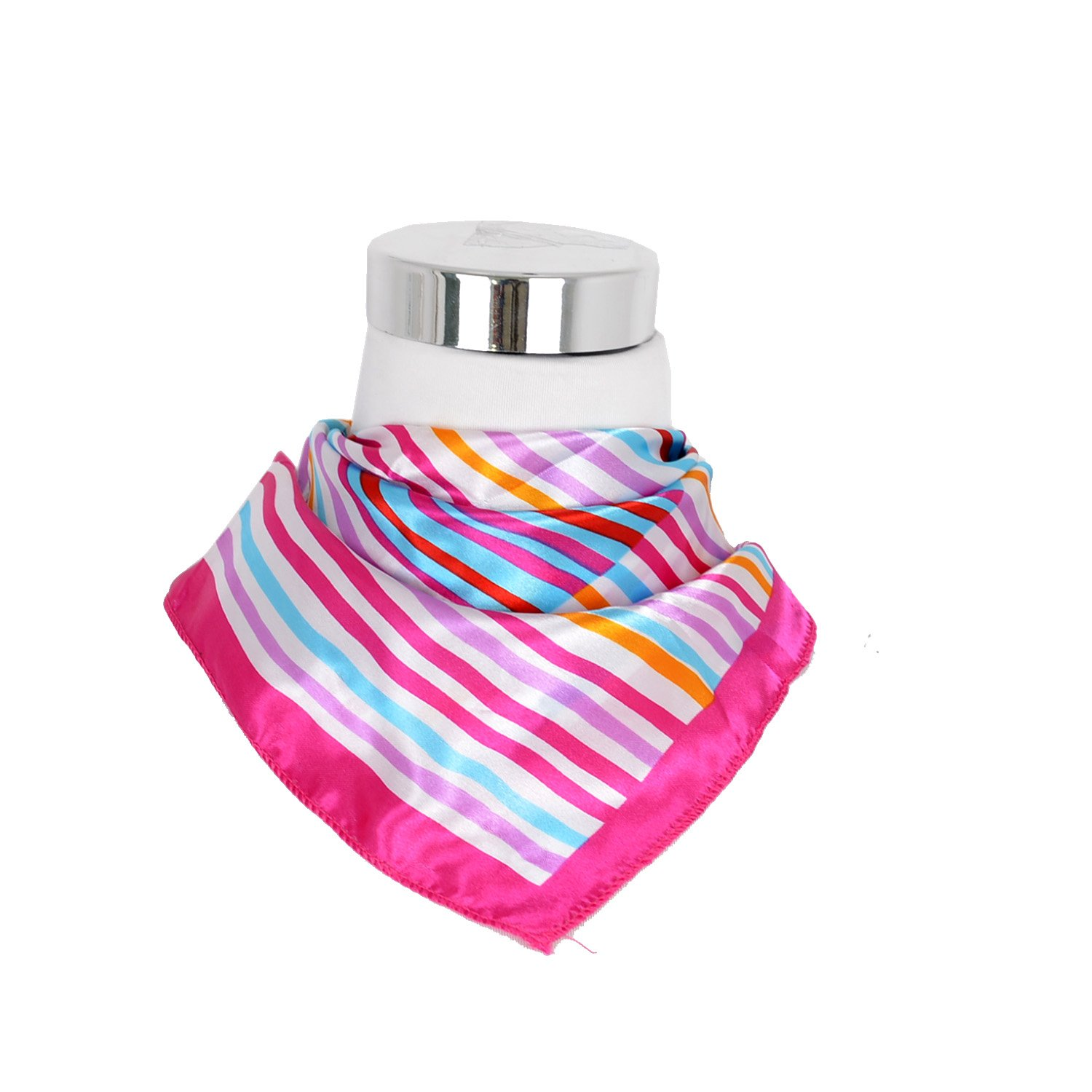 Women Fringe Satin Feel Painted Small Pink Square Christmas Gift Scarf Neckerchief