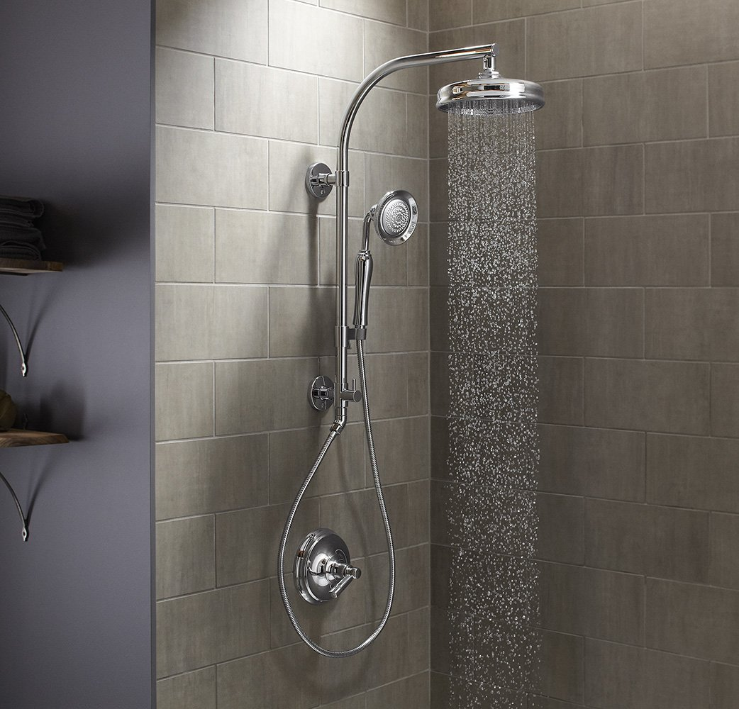 KOHLER K-45211-SN Hydrorail-R Arch Shower Column, Vibrant Polished ...