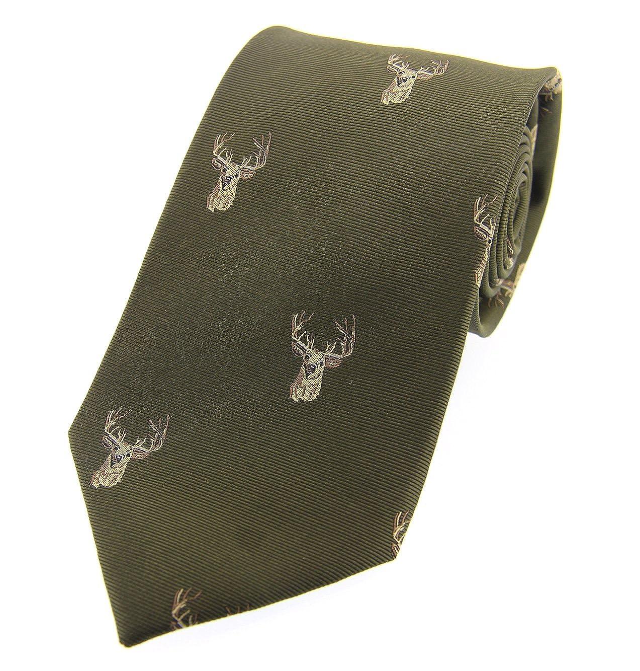 Navy Shooting Hunting Farmer Ties Reindeer Stag Country Outdoor Tie in Green