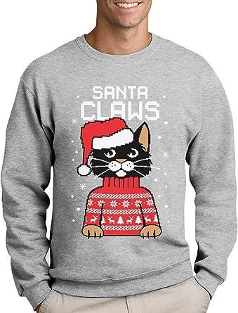 Santa Claws Krallen - Katzenliebhaber Herren Weihnachtspullover Sweatshirt  Small Grau