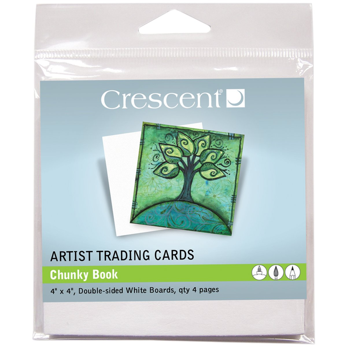 Crescent Cardboard Artist Chunky Book Trading Cards (4 Pack), 4' by 4', White
