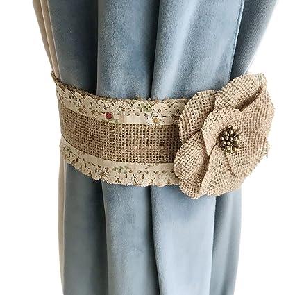 Ya Jin 2 unidades hecho a mano yute Natural cortina abrazaderas de velcro rural lino cortinas
