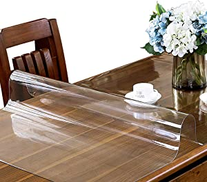 ETECHMART 1.5mm Thick 24 x 60 Inches Clear PVC Table Cover Protector for 5ft Table Non-Slip Waterproof Rectangular Vinyl Desk Pad for Coffee Table, Writing Desk, End Table