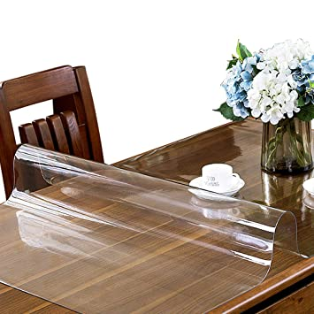 225 & ETECHMART 1.5mm Thick 24 x 48 Inches Clear PVC Table Cover Protector for 4ft Table Non-Slip Waterproof Rectangular Vinyl Desk Pad for Coffee Table ...