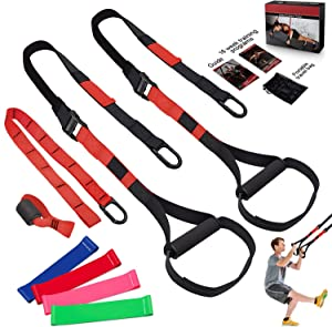 FLPLX Bodyweight Resistance Training Straps, Complete Home Gym Fitness Trainer kit for Full-Body Workout, Included Door Anchor, Extension Strap, 16 Week Program, Fitness Guide (Red)