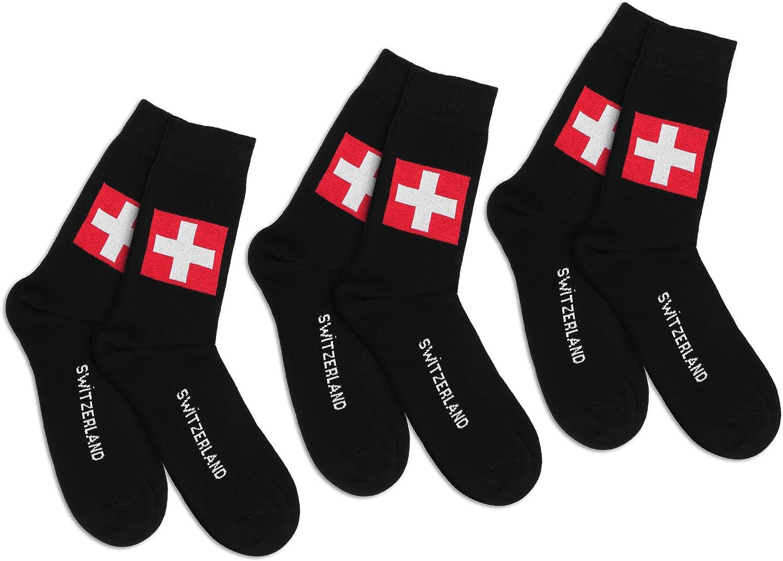 Wappen weiche Naht handgekettelte Storfisk fishing /& more 3 Paar Schweiz Socken Rot//Wei/ß mit Aufschrift Switzerland breiter Komfortbund Baumwollmix