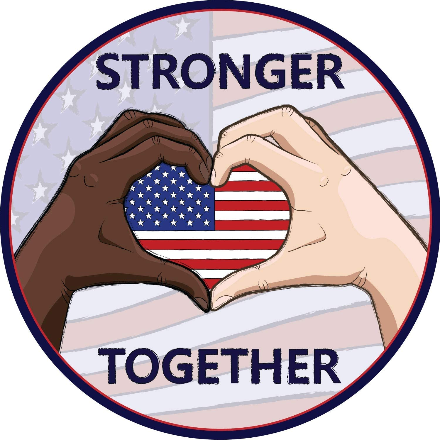 Anti Racism Magnet, Stronger Together Racial Equality Magnetic Decal for Fridge or Car 5 1/2 Inch
