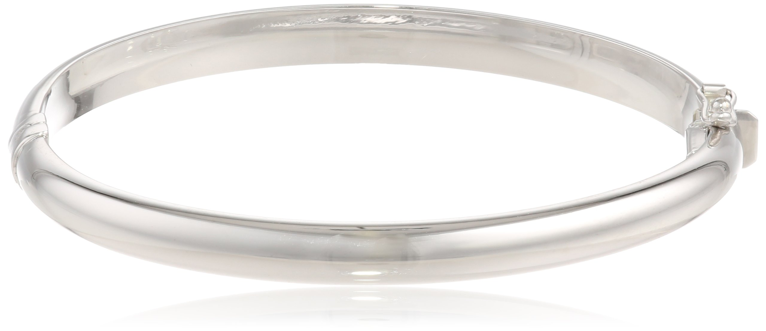10k White Gold 6.1mm Polished Dome Bangle Bracelet, 2 1/2''