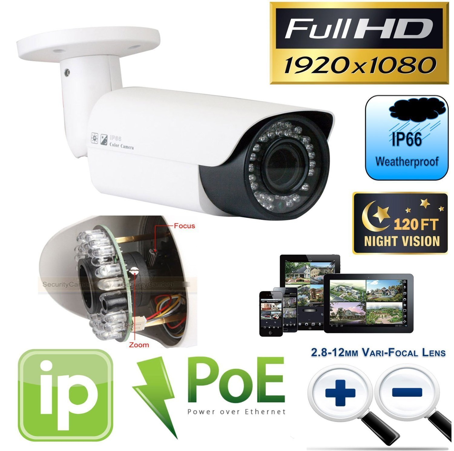 7 HD 5MP 1920p 2.8-12mm Varifocal Outdoor Indoor PoE IP Cameras GW Security 8 Channel HD 1920p Security System with 4TB HDD and 1 20X Zoom 5MP 1920p IP PTZ Camera