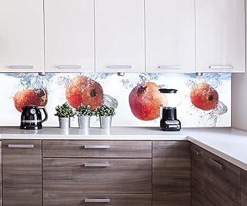 wandmotiv24 Küchenrückwand Granatapfel im Wasser Nischenrückwand ...
