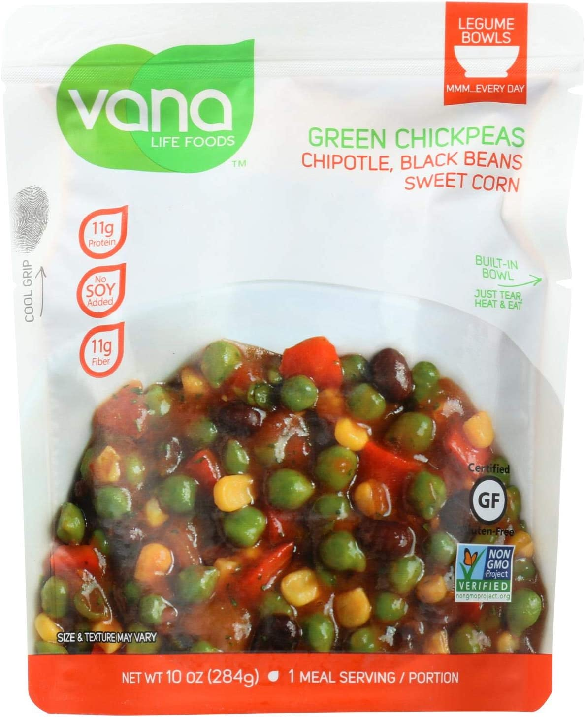 Vana Life Foods Green Chickpeas - Chipotle - Case of 6 - 10 oz.