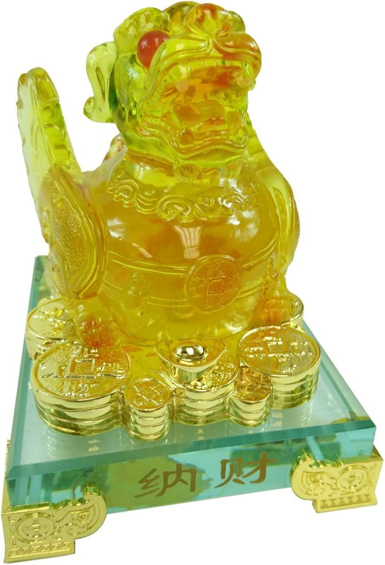 HONGVILLE Traditional Chinese Feng Shui Decor Fortune Wealth Prosperity Decorative Statue, Amber Pi Yao