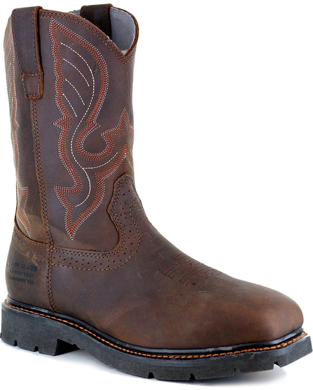 Cody James Men's Waterproof Composite Toe Pull On Work Boot Brown 12 D