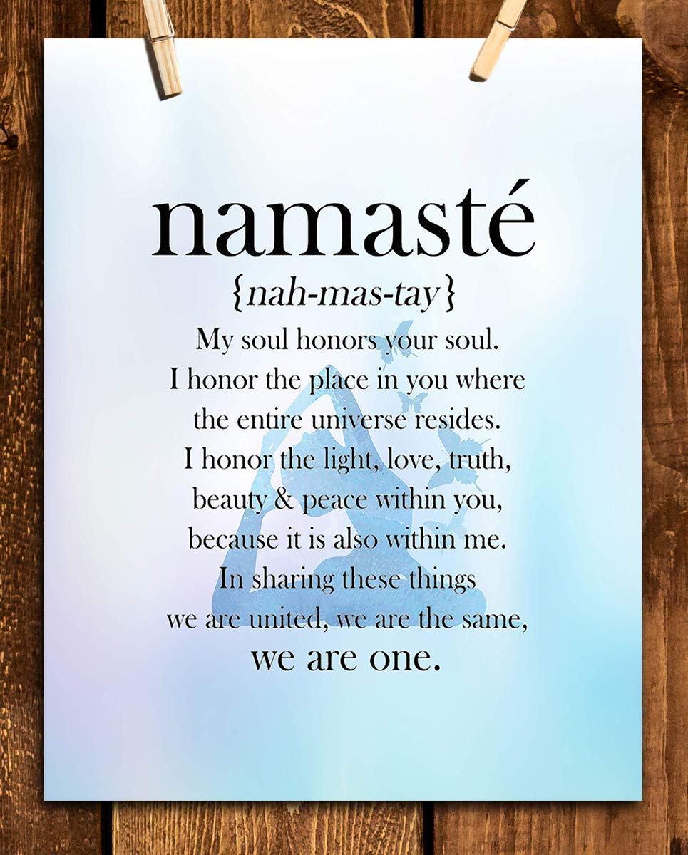 """Namaste in Blue Hue-""""We Are One""""- Inspirational Wall Art in Yoga Pose-8 x 10 Print Wall Art- Ready to Frame. Home Décor, Studio Décor & Wall Print. Inspirational Quote- Perfect Gift to Share the Love"""