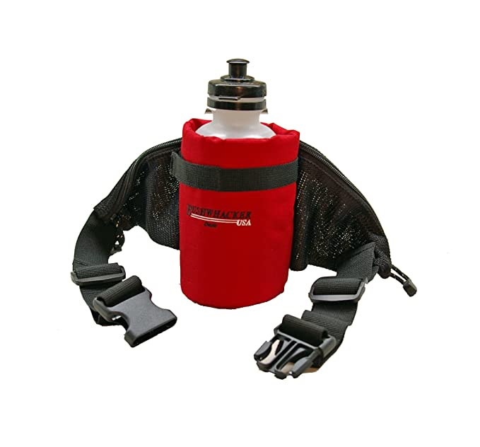 Bushwhacker Oasis - Insulated Hydration Hip Pack - Water Bottle Included - Red Great for Walking Jogging Hiking Biking Holder Waste Hip Pack Belt
