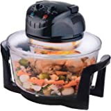 12 Litre Premium 1200W Halogen Oven Cooker with High Rack, Low Rack and Tongs Included (Black)
